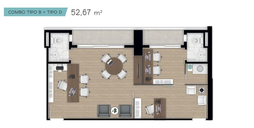 Planta 52,67 m²