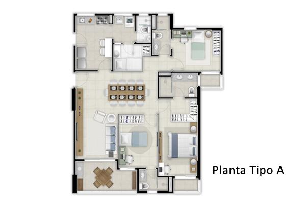PLANTA TIPO A 118M²