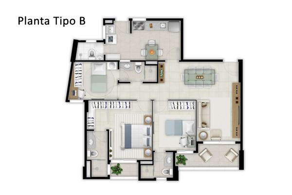 PLANTA TIPO B 98M²